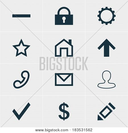 Vector Illustration Of 12 Interface Icons. Editable Pack Of Cogwheel, Money Making, Padlock And Other Elements.