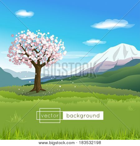 Vector landscape with blooming tree mountains blue sky clouds and green grass in the sunny spring day in gradient colors for use as a template of banner backdrop poster or splash screen.