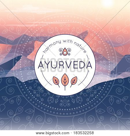 Vector Ayurveda illustration with evening mountain landscape ethnic patterns and sample text for use as a template of banner backdrop or poster for ayurveda medicine center or product.