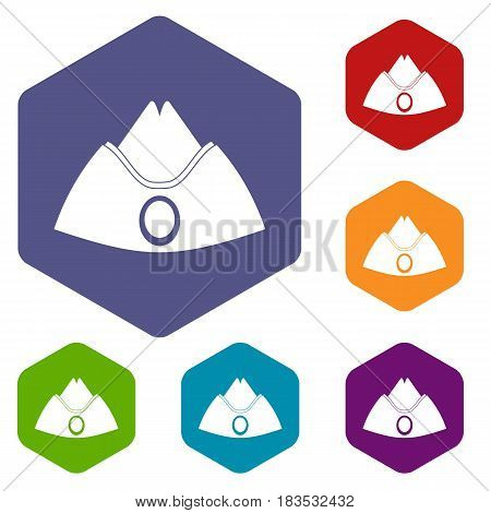 Forage cap icons set hexagon isolated vector illustration