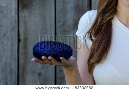 Girl Holding Yarn Ball. Concept Knitting Crochet Hobby Craft.