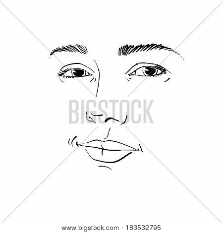 Monochrome art vector portrait of flirting woman face expressions theme illustration. Beautiful sexy lady posing on white background girl with attractive face features.
