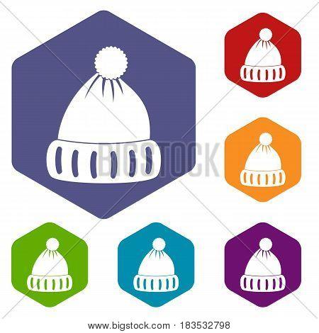 Woolen hat icons set hexagon isolated vector illustration