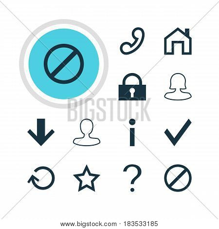 Vector Illustration Of 12 User Icons. Editable Pack Of Help, Check, Female User And Other Elements.