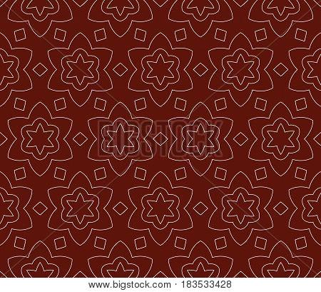 Seamless Dark Red And Silver Color Floral Pattern. Vector Illustration. For Design, Wallpaper, Backg