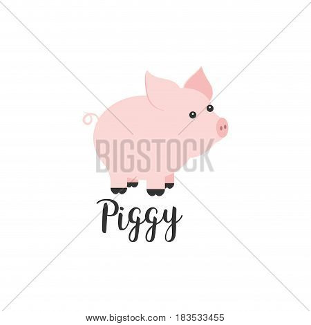Flat color vector icon with cute animal for baby products - piggy. Cartoon style. Childrens doodle. Babyhood. Newborn. Vector illustration and element for your design, wallpaper. Zoo. Kids. Farm
