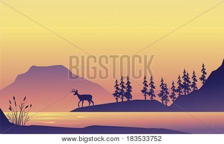 Beauty scenery deer at the sunrise silhouette vector art