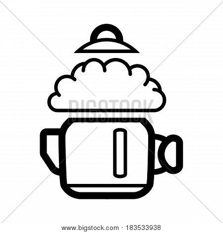 a boiling kettle and steam. on a white background. eps 10
