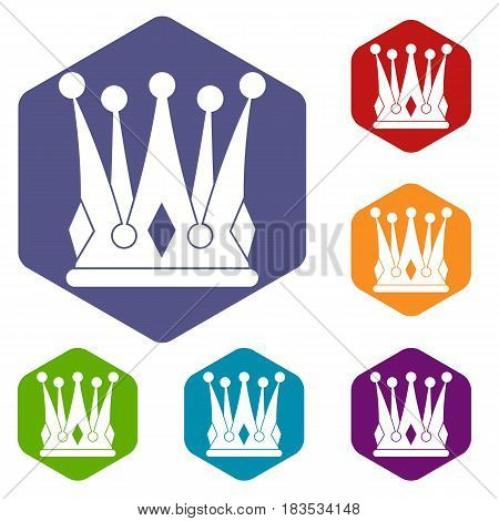Kingly crown icons set hexagon isolated vector illustration