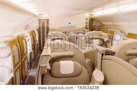 BANGKOK THAILAND - MARCH 7 2017 Interior first class of Airbus A380 largest passenger airliner in the world in Bangkok.