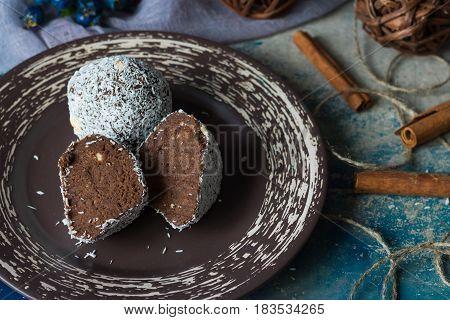 A cut of chocolate cake called potatoes