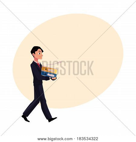 Young businessman going somewhere, carrying folders, cartoon vector illustration with space for text. Young businessman with pile of document folders