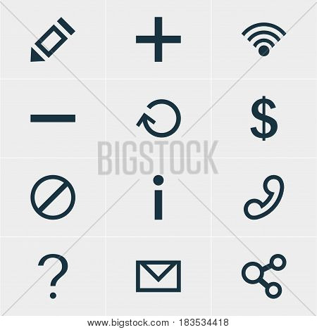 Vector Illustration Of 12 User Icons. Editable Pack Of Pen, Letter, Publish And Other Elements.