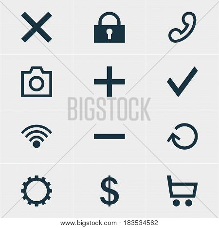 Vector Illustration Of 12 Interface Icons. Editable Pack Of Wrong, Snapshot, Money Making And Other Elements.