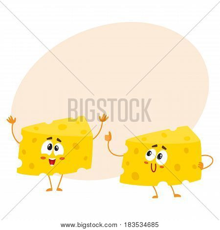 Two funny cheese chunk characters, one showing thumb up, another greeting, good quality concept, cartoon vector illustration with space for text. Two funny cheese piece characters, mascots
