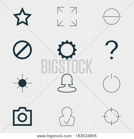 Vector Illustration Of 12 Interface Icons. Editable Pack Of Switch Off, Wide Monitor, Female User And Other Elements.