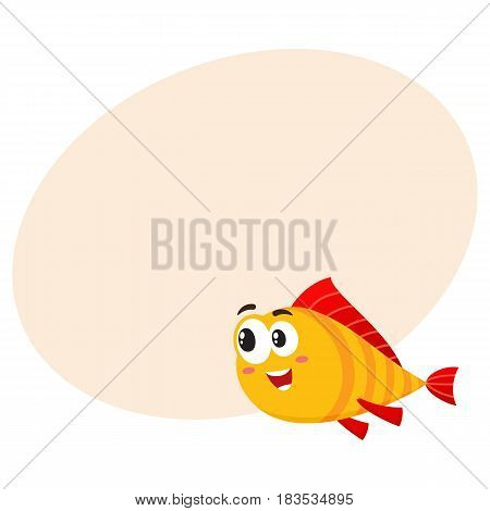Cute, funny golden, yellow fish character with human face rushing, swimming somewhere, cartoon vector illustration with space for text. Yellow fish character, mascot interested in something