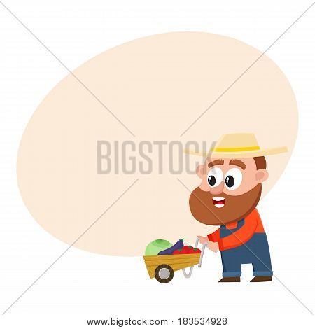 Funny farmer, gardener character in straw hat and overalls pushing barrow, handcart with vegetables, cartoon vector illustration with space for text. Comic farmer character, design elements