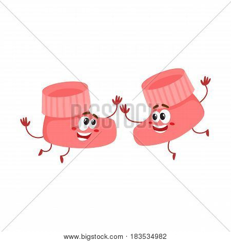 Pair of funny baby booty, sock characters playing together, infant, newborn accessory, cartoon vector illustration isolated on white background. Baby booties characters, mascot playing together