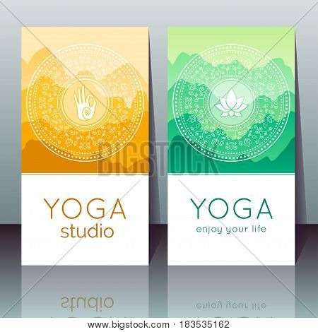 Vector yoga cards with mudra lotus mountain landscape ethnic indian pattern and sample text for use as a template of banner backdrop poster invitation for yoga center studio or retreat.