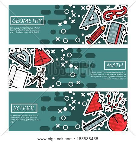 Set of Horizontal Banners about geometry. Education and scientific banners set. Vector design concept.