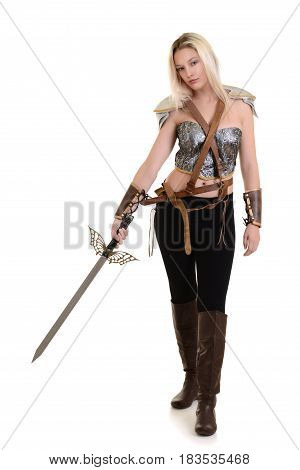 woman warrior with sword on a white background