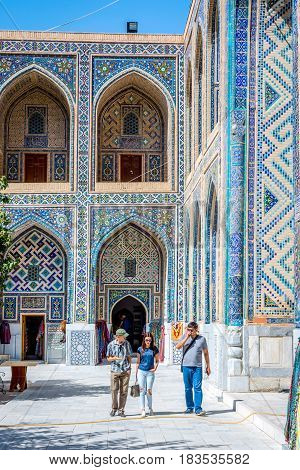 Colorful Atrium In Samarkand Registan, Uzbekistan