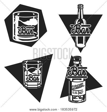 Color vintage bar emblems, labels, badges and design elements. Vector illustration, EPS 10