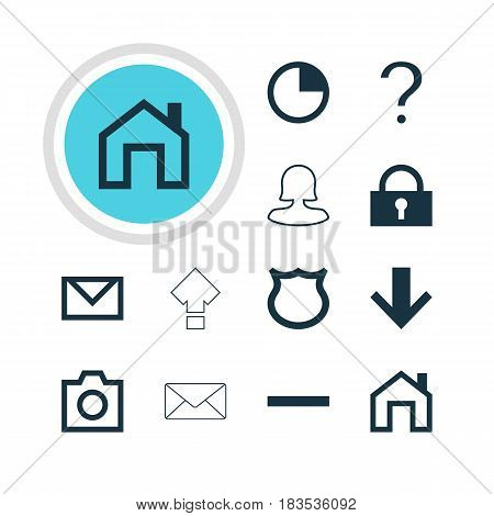 Vector Illustration Of 12 User Icons. Editable Pack Of Help, Padlock, Envelope And Other Elements.