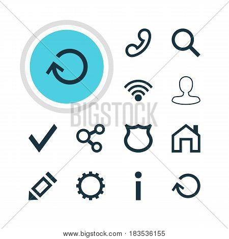 Vector Illustration Of 12 User Icons. Editable Pack Of Mainpage, Seek, Pen And Other Elements.
