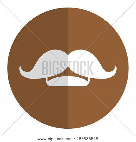 mustache icon over brown circle and white background. vector illustration
