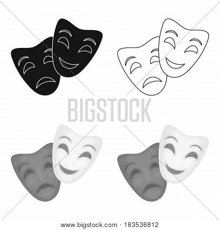 Theater masks icon in cartoon style isolated on white background. Theater symbol vector illustration