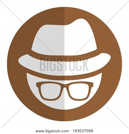 man with hat and glasses accessory icon over brown circle and white background. vector illustration