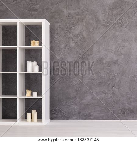 Simple Interior With Bookcase And Candles