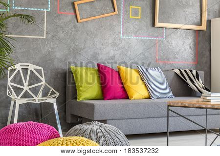 Student Room With Grey Sofa