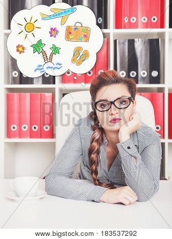 Bored Business Woman Dreaming About Holiday In Office