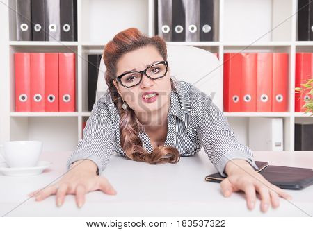 Tired Business Woman Working In Office