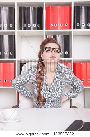 Business Woman With Pain In Her Back