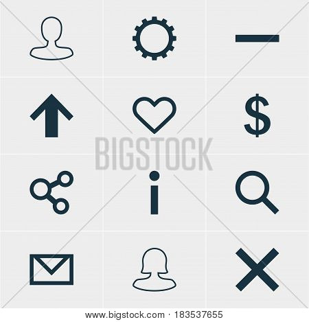 Vector Illustration Of 12 Member Icons. Editable Pack Of Money Making, Publish, Cogwheel And Other Elements.