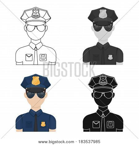 Police officer icon in cartoon design isolated on white background. Police symbol stock vector illustration.