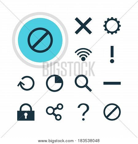 Vector Illustration Of 12 Interface Icons. Editable Pack Of Help, Stopwatch, Access Denied And Other Elements.