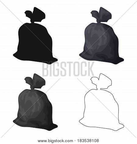 Garbage bag icon in cartoon style isolated on white background. Trash and garbage symbol vector illustration.