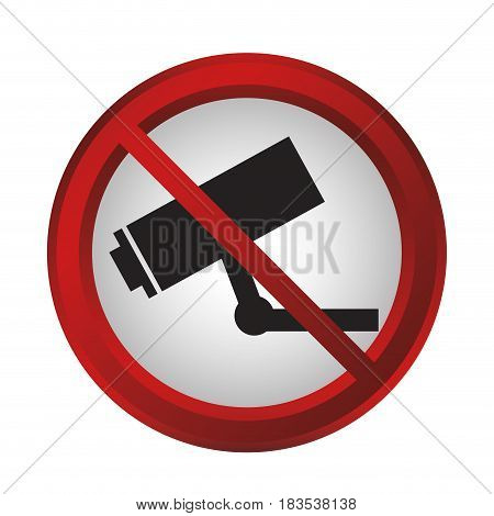 no survillence camera sign icon over white background. colorful design. vector illustration