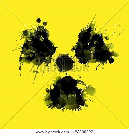 Radioactivity danger sign made of grunge splashes on yellow background
