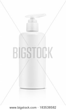 blank packaging cosmetic pump bottle isolated on white background with clapping path