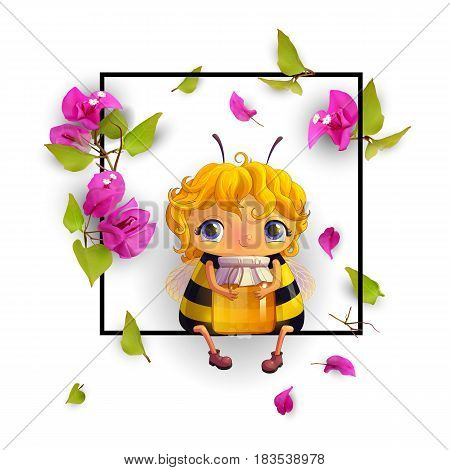 Cute bee with honey and tropical flowers Bougainvillea in a frame. Animated character. Isolated, on white background. Advertising honey. 3d. Vector illustration EPS10