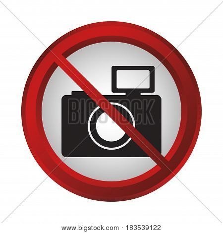 forbidden camera sign icon over white background. colorful design. vector illustration