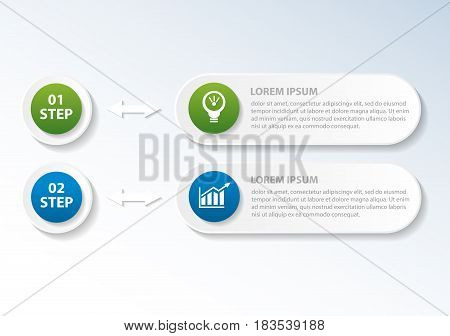 Vector Illustration. An Infographic Template With 2 Steps And An Image Of Two Rectangles And Circles