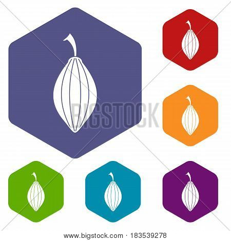 Black cardamom pod icons set hexagon isolated vector illustration