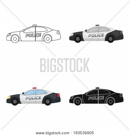 Police car icon in cartoon design isolated on white background. Police symbol stock vector illustration.